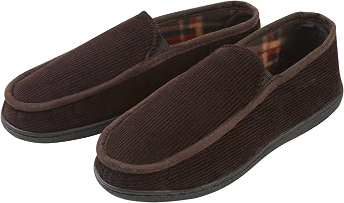 HOS Comfort EDWARD Mens Warm Winter House Comfortable Wide Fit Textile Slippers