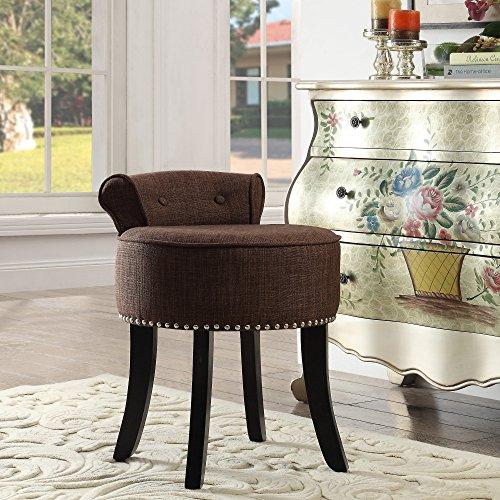 Hooker Bathroom Furniture (Taylor Brown Linen Vanity Stool - Nailhead Trim | Roll Back | Button Tufted |Bedroom| Inspired Home)