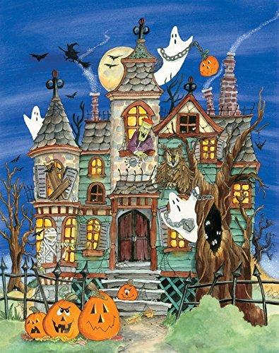 Haunted house design with pumpkins jack o lanterns boo ghosts Frankenstein monster