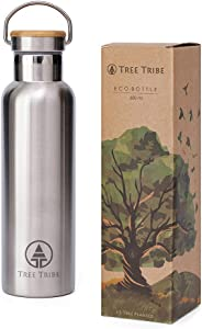 Tree Tribe Stainless Steel Water Bottle, 20oz Vacuum Insulated Water Bottle, Double Wall Metal Reusable Water Bottle, Keeps Water Cold All Day, Leak Proof, No Lead, BPA Free, Eco Friendly, Wide Mouth