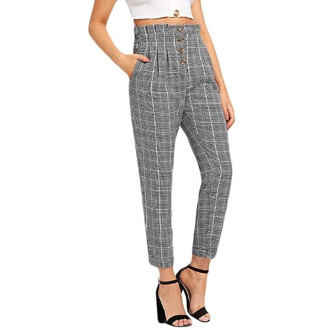 Logobeing Pantalones de Vestir Mujer Pantalones Casuales de Cintura Elástica de Mujer Pantalones de Chándal con
