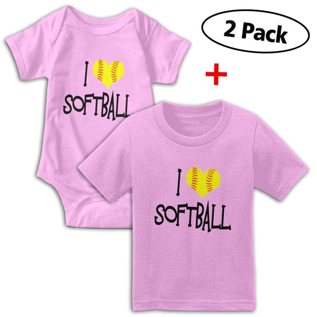 I Love Softball Unisex Toddler Baby 2-Piece Short-Sleeve Bodysuit Baby T-Shirt Set