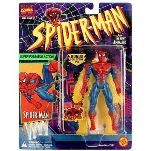 (Spider-Man - Super Poseable Action Figure - Bonus Pin - Marvel / Toy Biz)