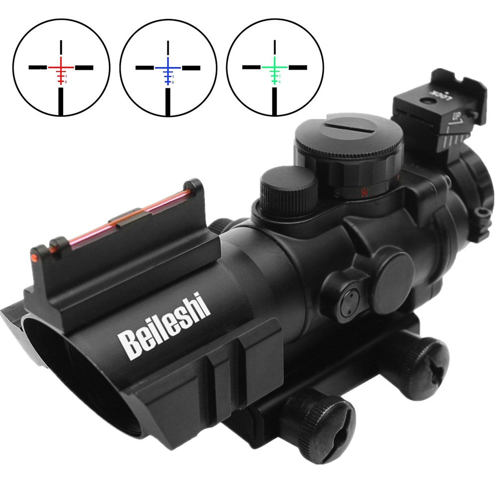 Beileshi Optics 4x32 Red/Green/Blue Triple Illuminated Rapid Range Reticle Rifle Scope with Top Fiber Optic Sight and Weaver Slots