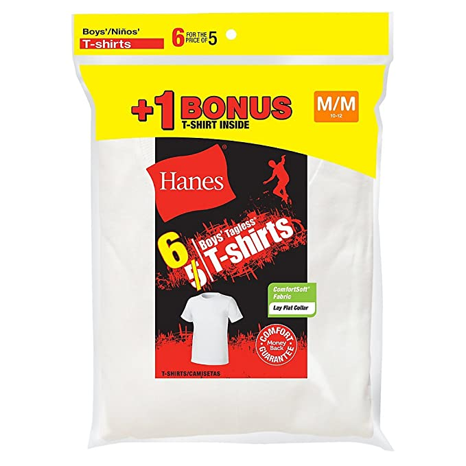 Hanes Boys Tagless Crewneck Undershirt 6-Pack_White_XS