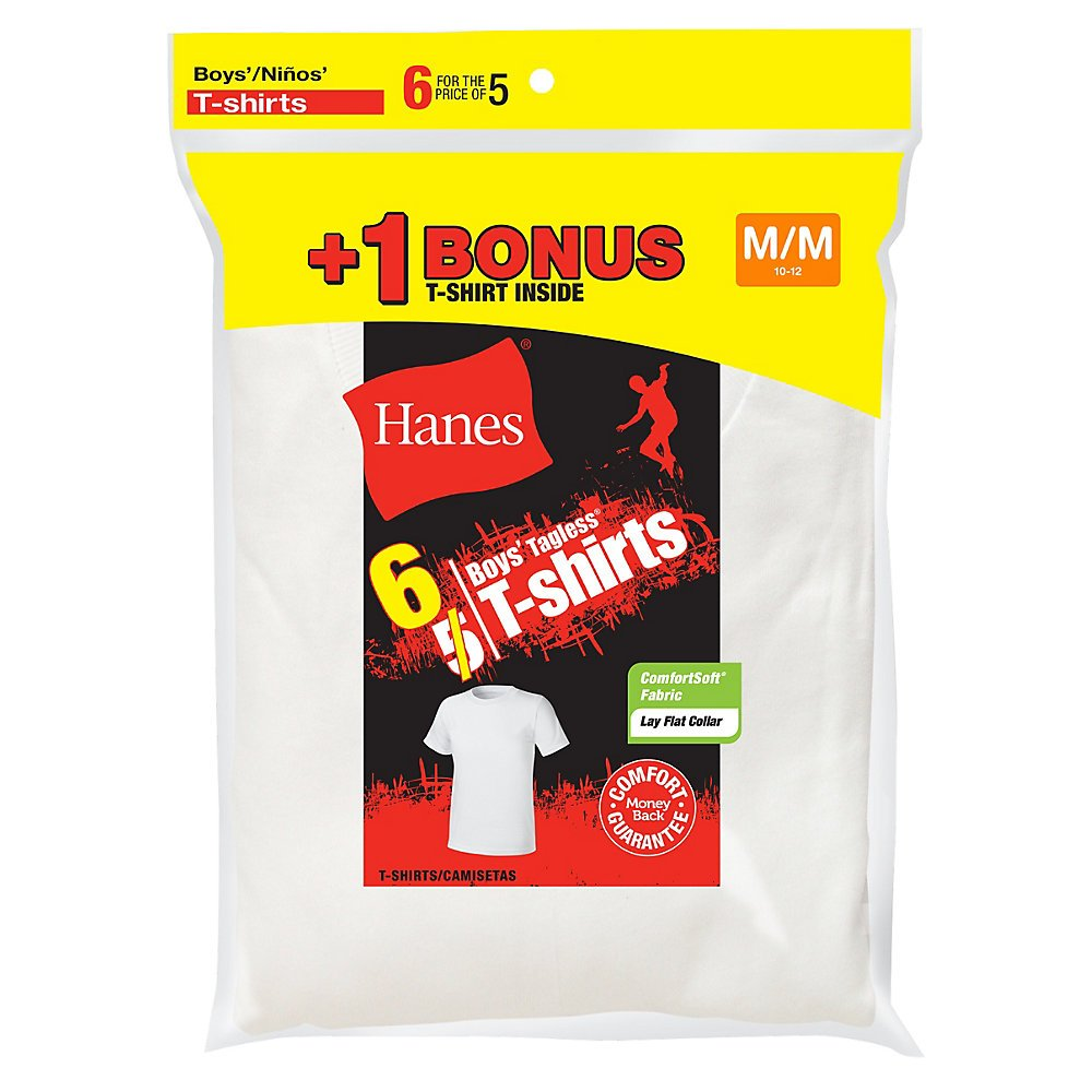Hanes by Boy's Crewneck Undershirt 6-Pack (Includes 1 Free Bonus Undershirt)