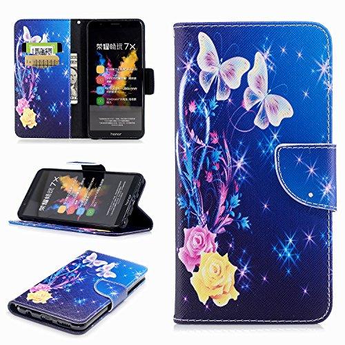Funda Para Honor 7X, Ecoway PU Pintado Carcasa Funda para Funda Ranura para tarjeta incorporada Cartera Flip Case Cover para Huawei Honor 7X- style 8 style 10