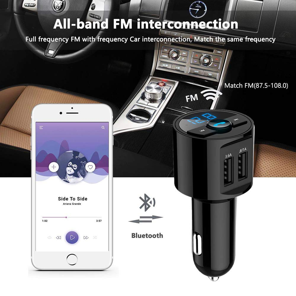 QC3.0 Wireless BT Receiver with Microphone Radio Adapter Music MP3 Player with Hands-Free Calling and 2 USB Ports Charger Support USB Drive SIZIMA Bluetooth FM Transmitter Car Charger