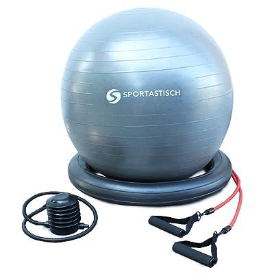 """ÉLU MEILLEUR PRODUIT: Ballon de gymnastique Premium """"Workout Ball"""" de Sportastisch :: Bandes de résistance novatrices pour entraînement fitness :: Protection anti-éclatement :: Pompe &agra"""