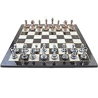 Metal Klasik Satranç Takımı Antik ve Katlanır Mermer Desenli MDF Ahşap Satranç Tahtası (43x43 cm.)