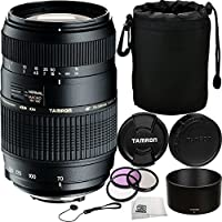 Tamron 70-300mm f/4-5.6 Di LD Macro Autofocus Lens for Nikon AF Bundle Includes Manufacturer Accessories + 3PC Filter Kit with Cap Keeper + Lens Pouch + Microfiber Cleaning Cloth