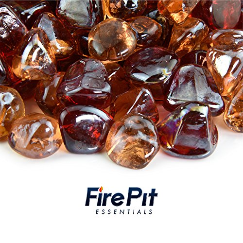 Blended Fire Glass - Mixed Diamond Fire Glass Blend of Colored Fire Pit Glass Rocks for Indoor and Outdoor Gas Fire Pits and Fireplaces 10 Pounds (Fiery Sunset) (Faux Outdoor Stone Fireplace)