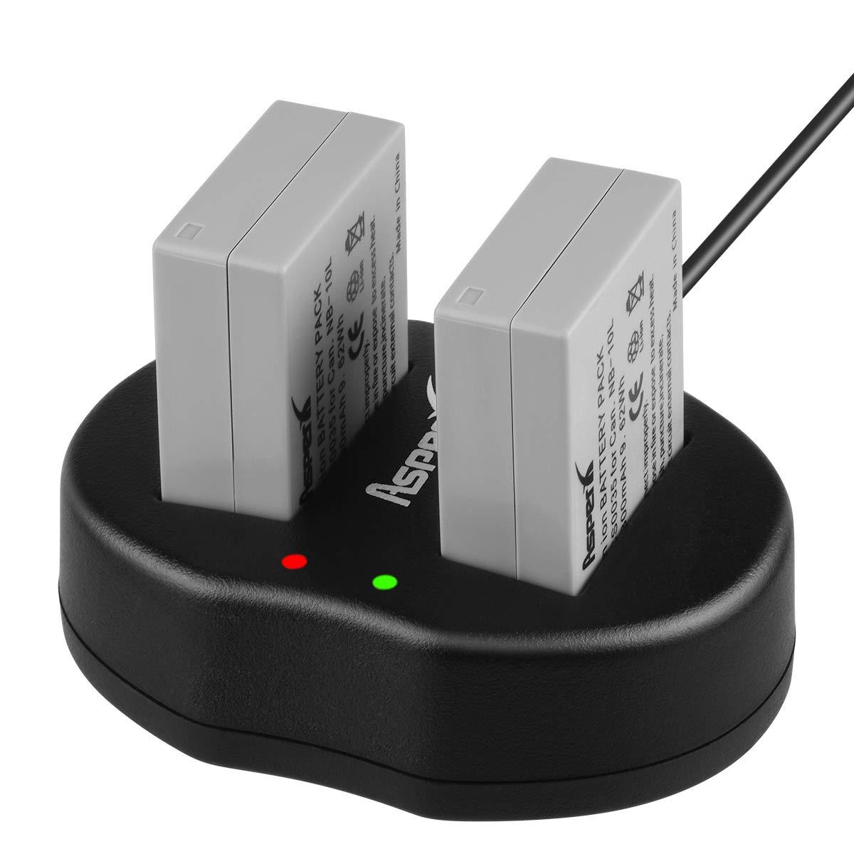 Asperx NB-10L Battery Charger Set Compatible with Canon PowerShot SX60 HS SX50 HS SX40 HS G15 G16 G1X G3X CB-2LC Digital Camera by AsperX
