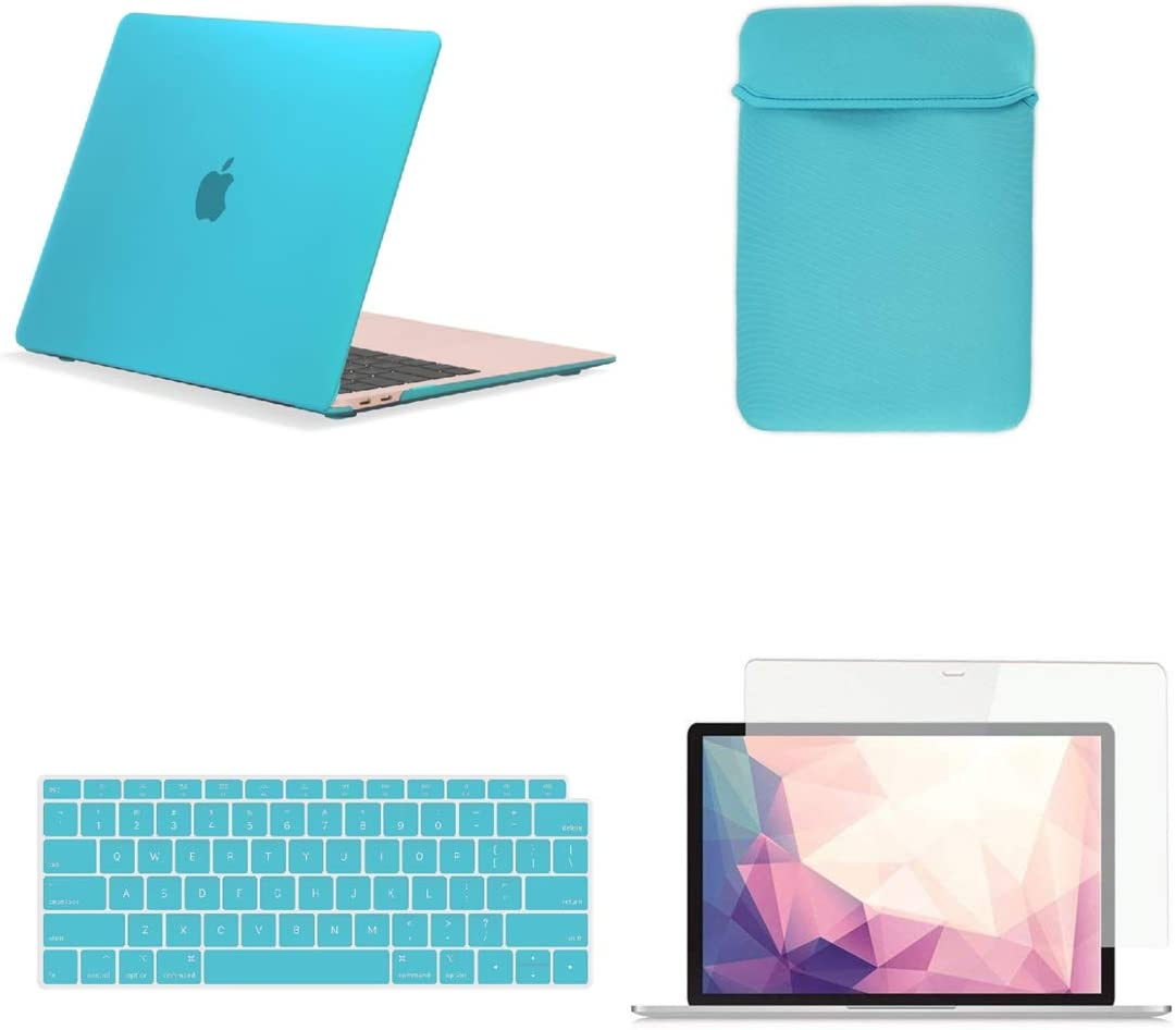 TOP CASE MacBook Air 13 Inch Case A1932/A2179 with Retina Display fits Touch ID 2020 2019 2018 Release, 4 in 1 Bundle Rubberized Hard Case, Keyboard Cover, Sleeve, Screen Protector - Aqua Blue