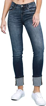 Judy Blue Straight Leg Cuffed Straight Fit Mid-Rise Jeans (Style: 8277)
