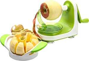 Cambom Apple Peeler Corer Slicer with 2 Replaceable Stainless Steel Blades with Protect Cover
