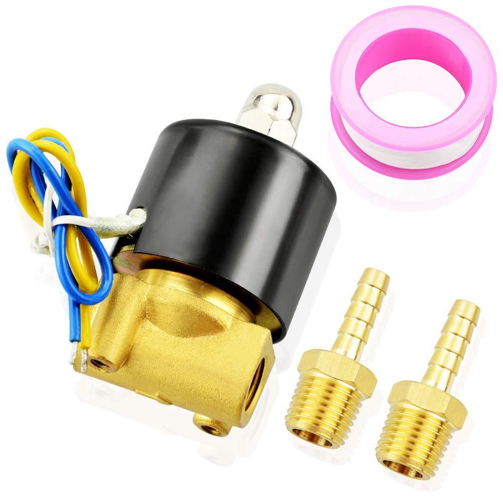 Tailonz Pneumatic 1/4 Inch NPT12V/24V/110V/220V Brass Electric Solenoid Valve 2W025-08 Normally Closed Water, Air, Diesel