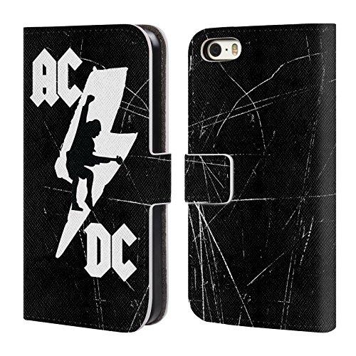 Officiel AC/DC ACDC Boulon Iconique Étui Coque De Livre En Cuir Pour Apple iPhone 5 / 5s / SE