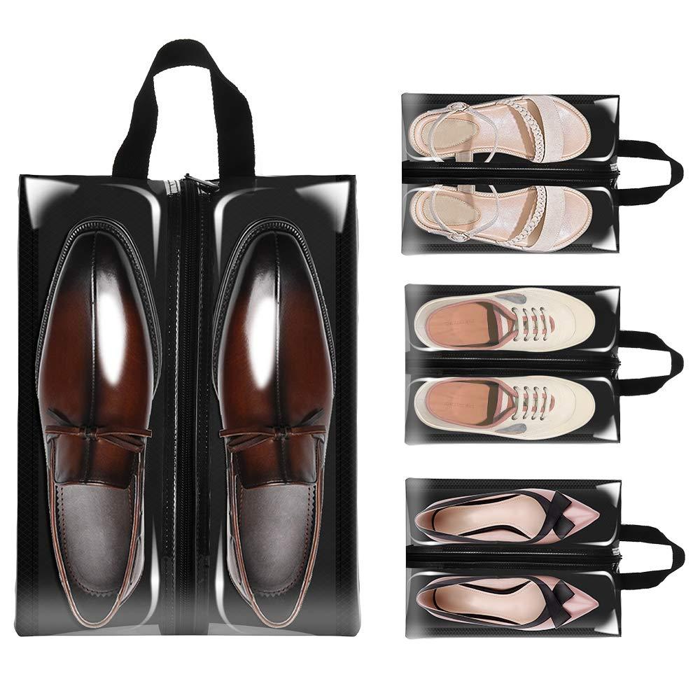 Clear Shoe Bags for Travel, Sariok 4PCS X-Large Shoe Bag for Men Women Organizer (Black)