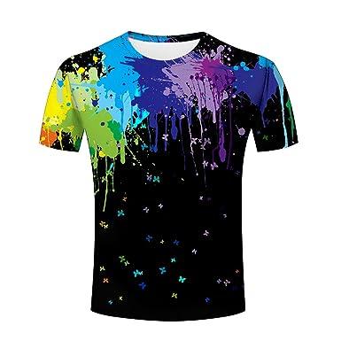 86c26c070240cd Amazon.com: ZeShan 3D Men Women T Shirt Rainbow Paint Splash Fashion ...