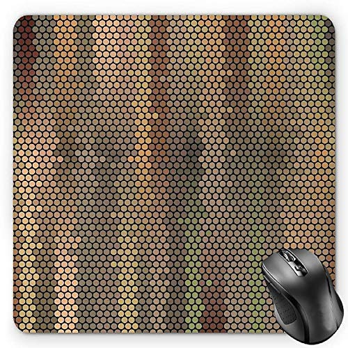 Earth Tones Mouse Pad, Party Entertainment Theme with Iconic Disco Ball Inspired Pattern Dotted Print Gaming Mousepad Office Mouse Mat -