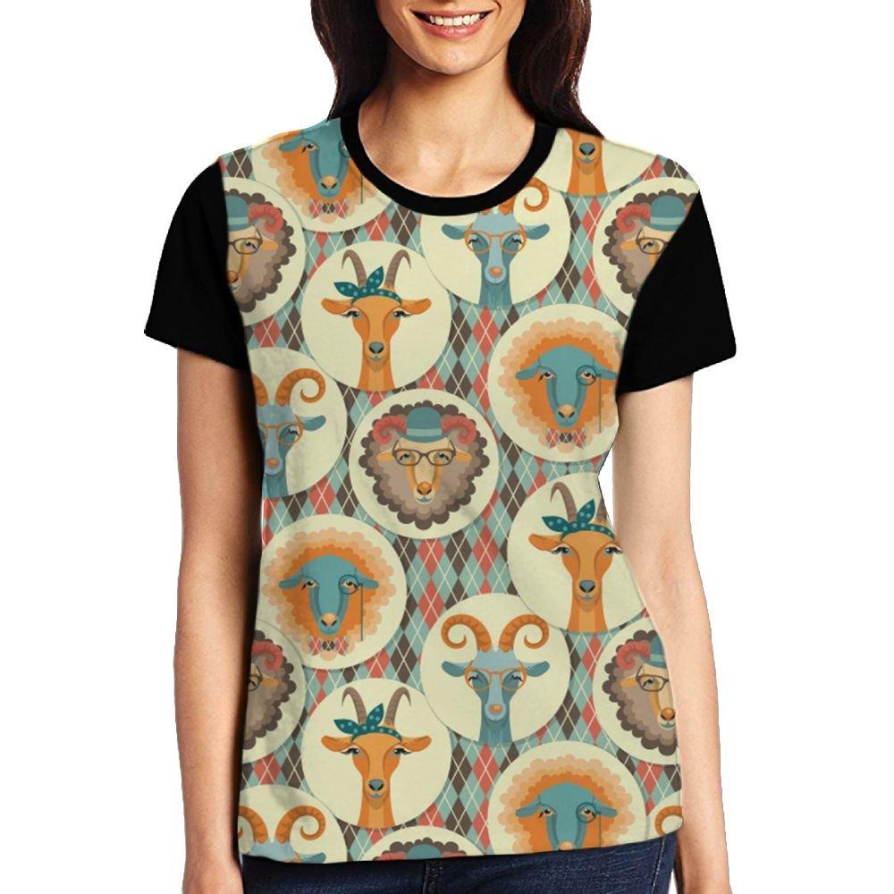 CKS DA WUQ Goat Face Women's Raglan T-Shirt Casual Sport Baseball Tees Tops Undershirts by CKS DA WUQ