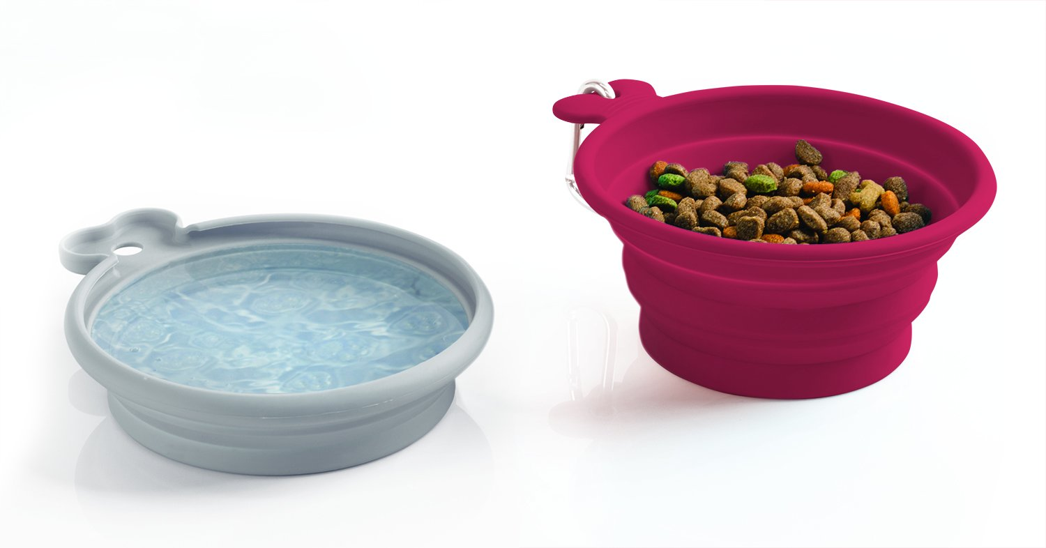 Jobar International Pet Parade Pop-up Food & Water Bowl Set - Travel Friendly Pet Bowl - Collapsible & Interlocking Design - For Water and Food - Portable Use
