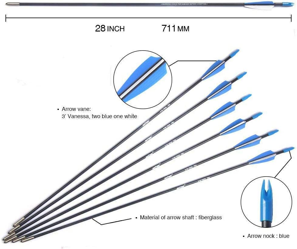 Musen 28 inch Training Arrows-Archery Practice Target Arrows with Durable Shaft Blunt Tip for Kids Youth or Beginners on Recurve Bow Long Bow Pack of 12 Blue