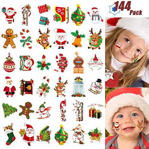 Christmas Temporary Tattoo for Kids Adult, 144 Pcs Assorted Cute Designs Stick Xmas Holiday Birthday Party Favors -