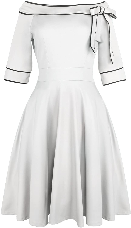 Sailor Dresses, Nautical Theme Dress, WW2 Dresses Womens Casual Off Shoulder Pocket Bowknot Rockabilly Swing Vintage Cocktail Party Dress 188 $36.99 AT vintagedancer.com