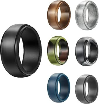 Silicone Wedding Ring for Men Baseball,7 Packs Comfortable Fit 2.5 mm Thickness,from The Latest Artist Design Innovations to Leading Edge Comfort