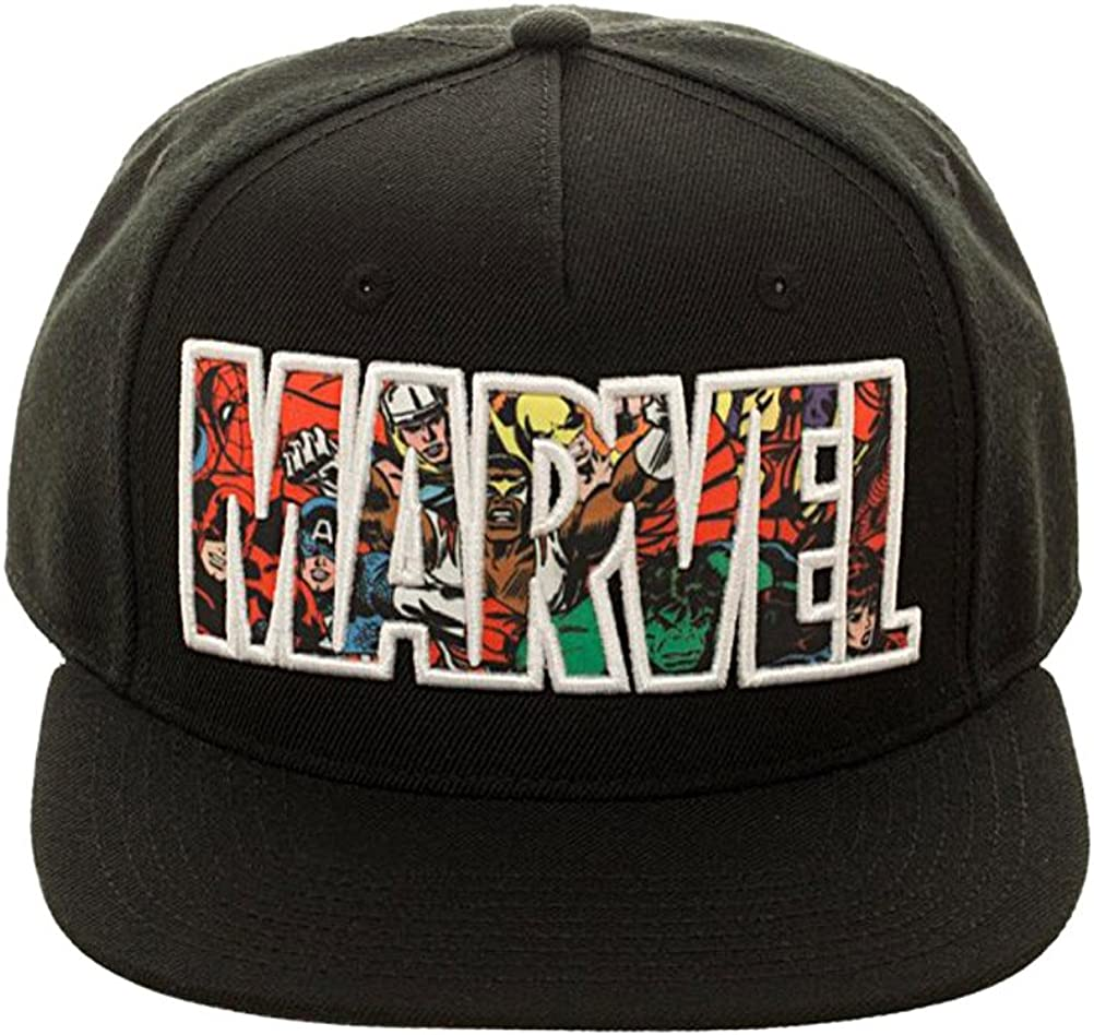 Bioworld Marvel Comic Logo Sublimated Bill Snapback Cap Hat Black