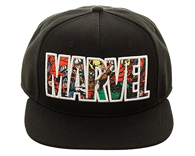 d6562fc8258 Image Unavailable. Image not available for. Color  Bioworld Marvel Comic  Logo Sublimated Bill Snapback Cap Hat Black