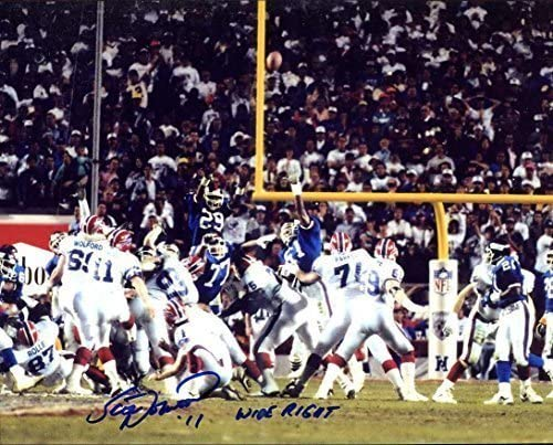 Buffalo Bills Kicker Autographed//Original Signed 8x10 Color Photo During Super Bowl XXV His Famous 47 Yd Field Goal Attempt Missed He WroteWIDE RIGHT Beside His Signature -COA Scott Norwood