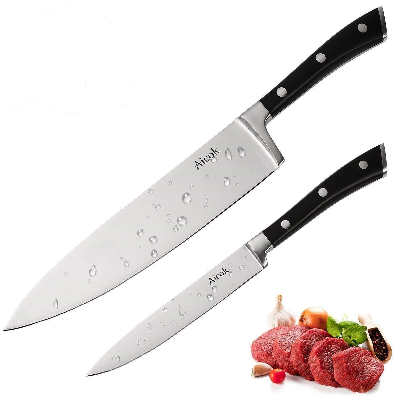 Aicok Kochmesser Küchenmesser Chefmesser 20 cm Allzweckmesser Sehr Scharfe Klinge Rostfreier Stahl Köche Messer zum Schneiden