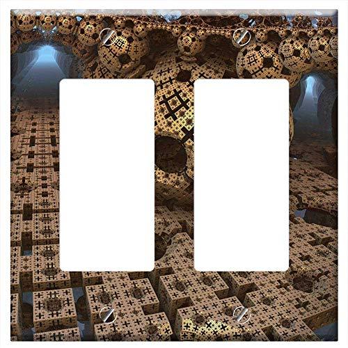 Switch Plate Double Rocker/GFCI - Menger Sponge Ball Sphere Fractal Cube Geometric