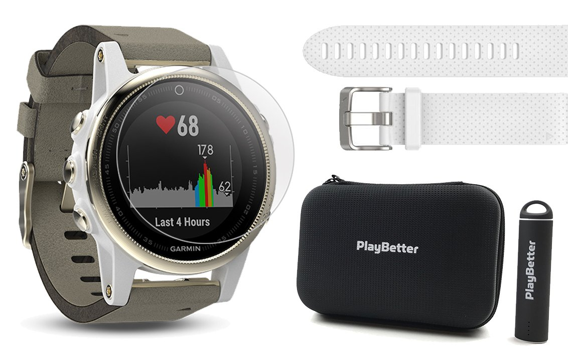 Garmin fenix 5S Sapphire (Champagne/Suede Band) Power Bundle | Includes Extra Band (White), HD Glass Screen Protector, PlayBetter Hard Case & PlayBetter Portable Charger | Multi-Sport GPS Watch