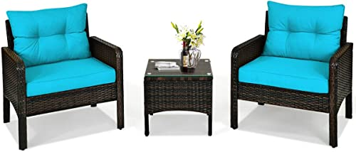 HAPPYGRILL 3-Piece Patio Furniture Set Outdoor Rattan Wicker Coffee Table Chairs Set