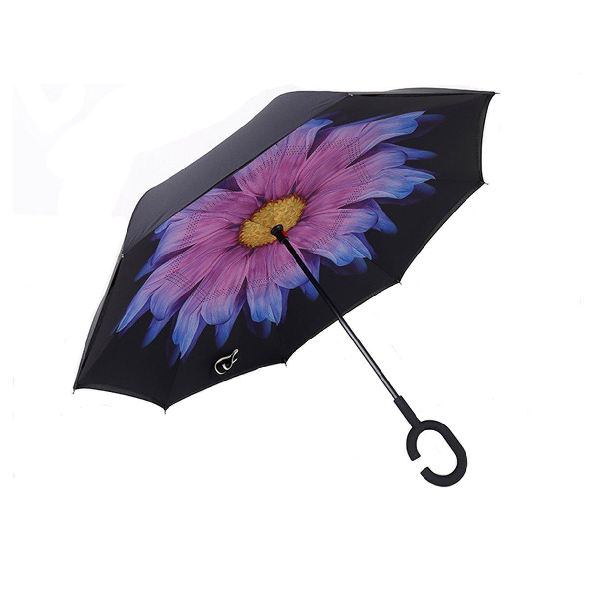 Glaze//Black Anti-UV Waterproof Umbrella Double Layer Inverted Umbrella with C-Shaped Handle