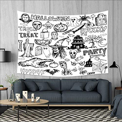 smallbeefly Vintage Halloween Tapestry Wall Tapestry Hand Drawn