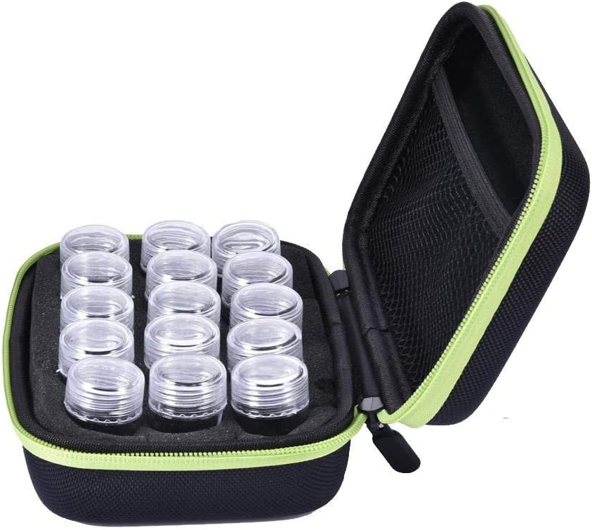15 Slots Diamond Embroidery Box Diamond Painting Accessory Storage Case Container DIY Art Craft Jewelry Beads Sewing Pills Organizer Holder Clear Plastic Beads Cross Stitch Zipper Storage Bag Boxes