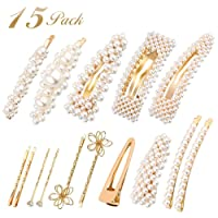 Roblue 15pcs Pearl-Hair-Clips for Women Gold White Pearl Hair Barrettes for Women Large Pins Flower Hair Pins for Women Girls Pearl Hairpins Accessories for Wedding Bridal