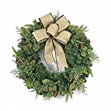 Wreath 30 in. with Burlap Bow and 50 Battery-Operated Warm-White Lights
