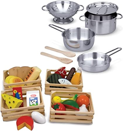 Melissa /& Doug Stainless Steel Pots And Pans Pretend Play Kitchen Set For Kids