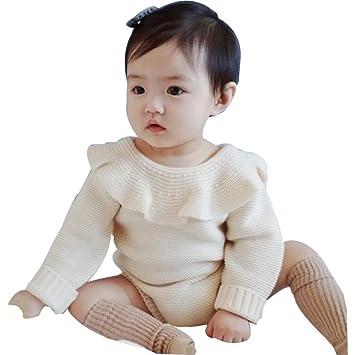 Bebé de Navidad Mono, toponly Navidad recién nacido bebé niño Niña Pelele de tejido de punto algodón Peter Pan cuello mono: Amazon.es: Hogar