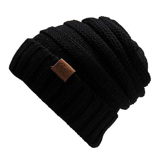 Amazon.com  MMC-Thick Slouchy Knit Oversized Beanie Cap Hat (Black ... 6c547518e3d