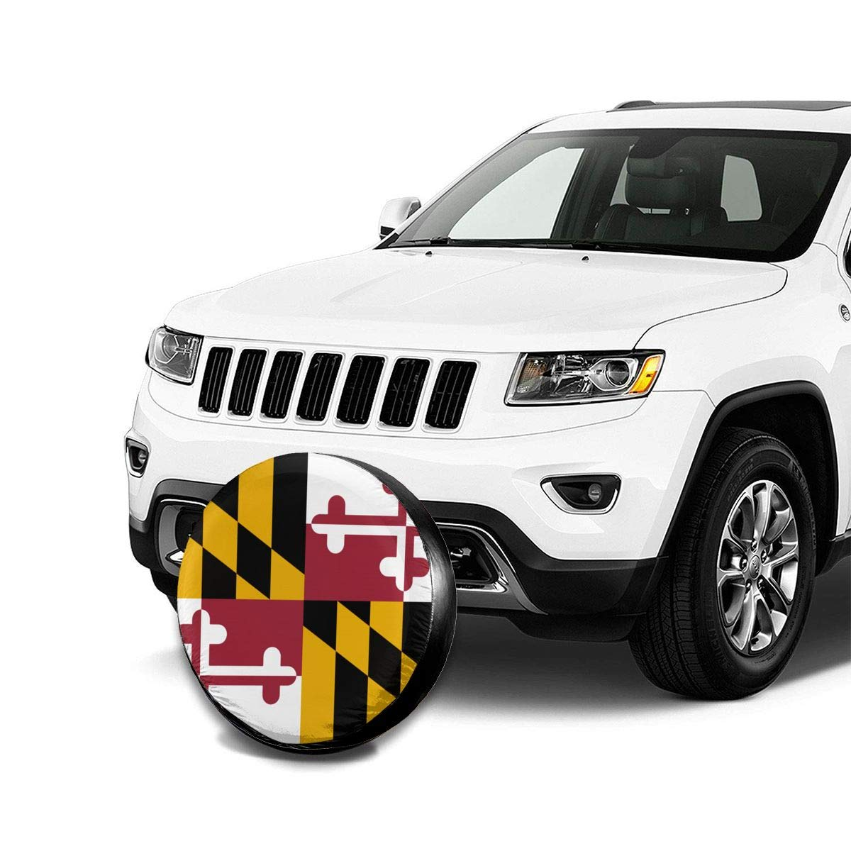 JT270 Modern Style Dustproof and Waterproof Spare Tire Cover,Flag of Maryland Universal Tire Covers for Jeep,Trailers,Rvs,Suvs,Trucks and Many Vehicles 14,15,16,17 Inch