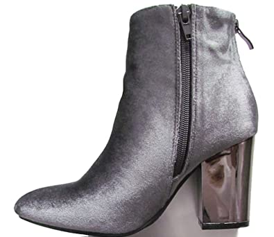 a59136c1e5c Xti Ladies Grey Velvet Ankle Boot With Metallic Silver Block High Heel  Womens Size 8
