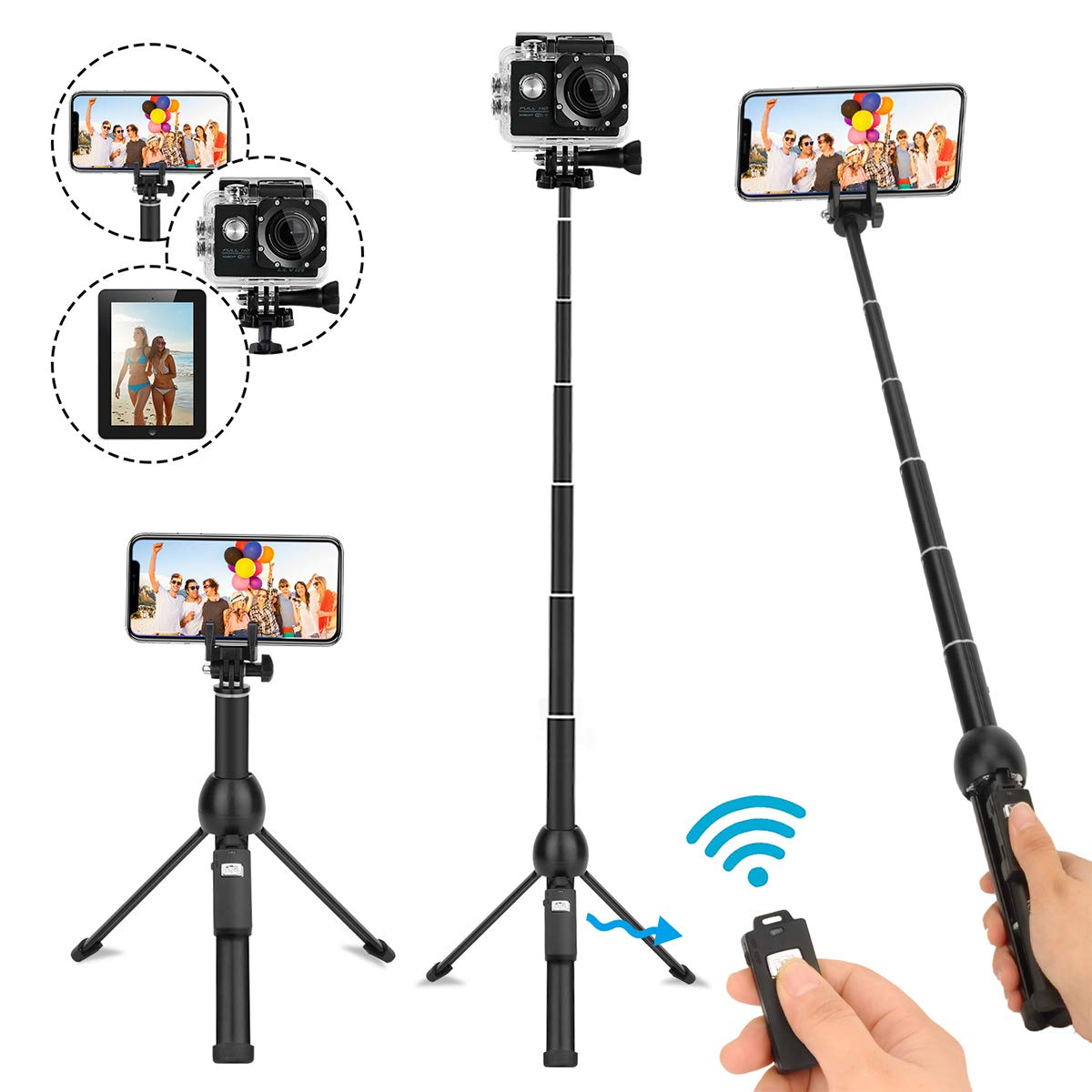 Selfie Stick Tripod,45 Inch Extendable Selfie Stick Tripod with Wireless Remote Control,Compatible with iPhone 6 7 8 X Plus,Samsung Galaxy S9 Note8, Gopro by YunTeng