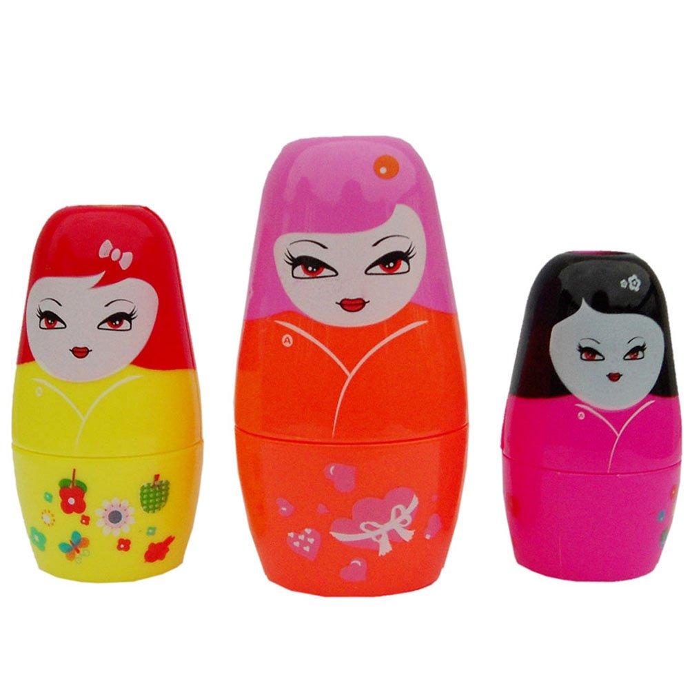 AWOEZ Matryoshka Doll Real Reflection Kaleidoscope Fun Educational Toy for Kids Children Set of 3pcs doll